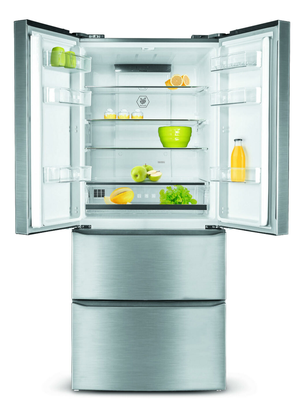 Stainless steel refrigerator freezer combo with French door 412 L - Schneider